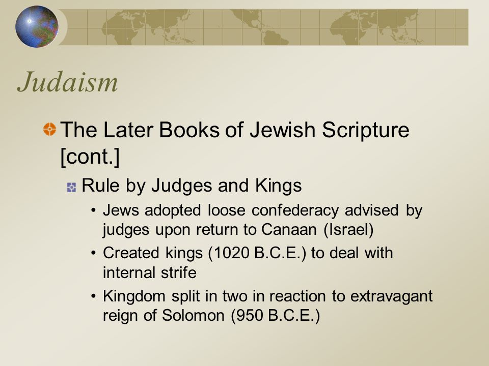 Judaism The Later Books of Jewish Scripture [cont.]